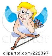 Royalty Free RF Clipart Illustration Of Cupid Daydreaming On A Cloud With A Bow