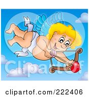 Royalty Free RF Clipart Illustration Of Cupid With A Bow In The Sky 1 by visekart