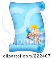 Royalty Free RF Clipart Illustration Of A Blue Parchment Page With Cupid 10 by visekart