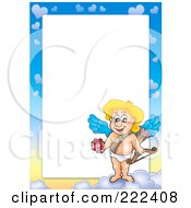 Royalty Free RF Clipart Illustration Of A Cupid And Sky Frame Border Around White Space 1 by visekart