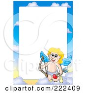 Royalty Free RF Clipart Illustration Of A Cupid And Sky Frame Border Around White Space 8 by visekart