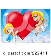 Royalty Free RF Clipart Illustration Of Cupids With A Big Heart In The Sky by visekart