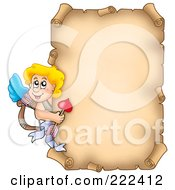 Royalty Free RF Clipart Illustration Of Cupid Around A Parchment Page by visekart
