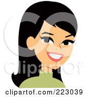 Royalty Free RF Clipart Illustration Of A Black Haired Woman Smiling 3
