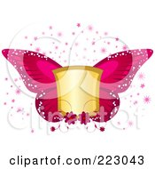 Royalty Free RF Clipart Illustration Of A Golden Shield With Pink Butterfly Wings Flowers Bursts And Stars