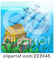 Royalty Free RF Clipart Illustration Of A Sunken Treasure Chest Near A Shipwreck Under The Sea by visekart