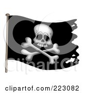 Royalty Free RF Clipart Illustration Of A Black Jolly Roger Pirate Flag With Holes by visekart