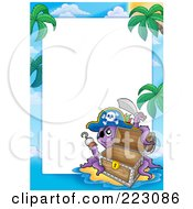 Royalty Free RF Clipart Illustration Of A Pirate Octopus And Treasure Chest Border Around White Space