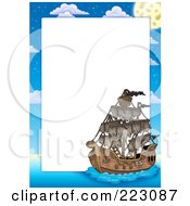 Royalty Free RF Clipart Illustration Of A Pirate Ship Frame Around White Space 2