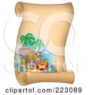 Royalty Free RF Clipart Illustration Of A Treasure Chest On A Tropical Island On A Vertical Parchment Page