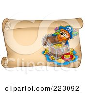 Royalty Free RF Clipart Illustration Of A Pirate And Treasure On A Horizontal Parchment Page