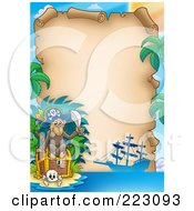 Royalty Free RF Clipart Illustration Of A Pirate Monkey With A Treasure Chest Framing An Aged Parchment Page
