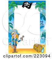 Royalty Free RF Clipart Illustration Of A Pirate Border Around White Space 15