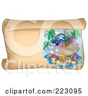 Royalty Free RF Clipart Illustration Of A Pirate Octopus With An Empty Chest On A Horizontal Parchment Page