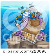 Royalty Free RF Clipart Illustration Of A Pirate Octopus Near A Shipwreck With A Treasure Chest