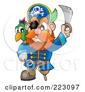 Royalty Free RF Clipart Illustration Of A Male Pirate Holding Up His Sword 1