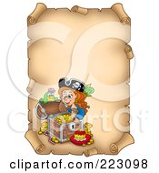 Royalty Free RF Clipart Illustration Of A Pirate Girl With A Treasure Chest On An Aged Vertical Parchment Page
