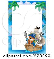 Royalty Free RF Clipart Illustration Of A Pirate Border Around White Space 13