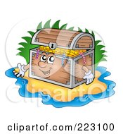 Royalty Free RF Clipart Illustration Of A Treasure Chest Character On A Beach