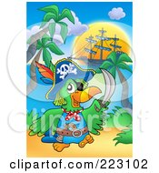Royalty Free RF Clipart Illustration Of A Pirate Parrot Holding Up A Sword On A Beach