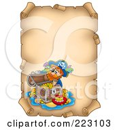 Royalty Free RF Clipart Illustration Of A Treasure Chest And Pirate On A Blank Aged Vertical Parchment Page