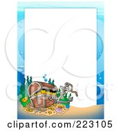 Royalty Free RF Clipart Illustration Of A Sunken Treasure Chest Border Around White Space by visekart