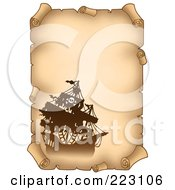 Royalty Free RF Clipart Illustration Of A Pirate Ship On A Vertical Parchment Page 4