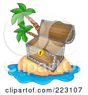 Royalty Free RF Clipart Illustration Of An Empty Treasure Chest On A Tropical Island