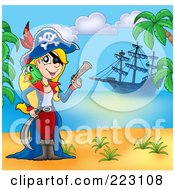 Royalty Free RF Clipart Illustration Of A Blond Female Pirate Holding A Gun On A Beach With Her Ship In The Background