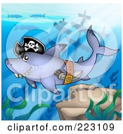 Royalty Free RF Clipart Illustration Of A Pirate Shark Swimming Near A Sunken Ship