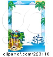 Royalty Free RF Clipart Illustration Of A Pirate Parrot Treasure Chest And Ship Border Around White Space