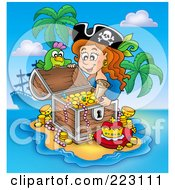 Royalty Free RF Clipart Illustration Of A Female Pirate And Parrot Opening A Treasure Chest On A Beach
