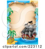 Royalty Free RF Clipart Illustration Of A Pirate Ship And Vertical Parchment Paper Frame