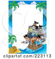 Royalty Free RF Clipart Illustration Of A Pirate And Ship Border Around White Space