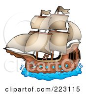 Royalty Free RF Clipart Illustration Of A Pirate Ship 1