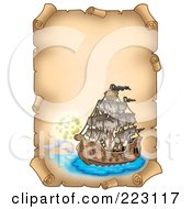 Royalty Free RF Clipart Illustration Of A Pirate Ship On A Vertical Parchment Page 6