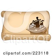 Royalty Free RF Clipart Illustration Of A Pirate Ship On A Horizontal Parchment Page 6