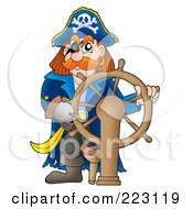 Royalty Free RF Clipart Illustration Of A Male Pirate With A Ships Helm