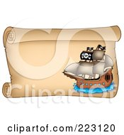 Royalty Free RF Clipart Illustration Of A Pirate Ship On A Horizontal Parchment Page 3