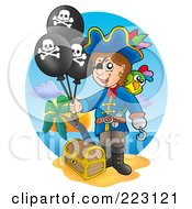 Royalty Free RF Clipart Illustration Of A Male Pirate Balloons By A Treasure Chest On A Beach