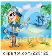 Royalty Free RF Clipart Illustration Of A Blond Female Pirate Holding A Gun And Sword On A Beach With Her Ship In The Background