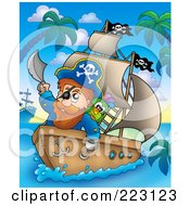 Royalty Free RF Clipart Illustration Of A Male Pirate Holding A Sword Up On His Boat