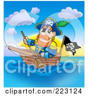 Royalty Free RF Clipart Illustration Of A Male Pirate Paddling A Boat At Sunset