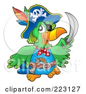 Royalty Free RF Clipart Illustration Of A Pirate Parrot Holding Up A Sword