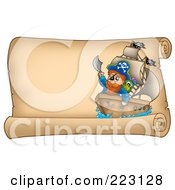 Royalty Free RF Clipart Illustration Of A Pirate Ship On A Horizontal Parchment Page 2