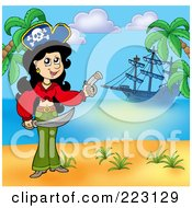 Royalty Free RF Clipart Illustration Of A Female Pirate Holding A Sword And Gun On A Beach With Her Ship In The Background