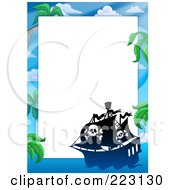 Royalty Free RF Clipart Illustration Of A Pirate Ship Frame Around White Space 3