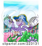 Royalty Free RF Clipart Illustration Of A Pirate Octopus With A Pistol And Sword On A Reef