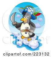 Royalty Free RF Clipart Illustration Of A Pirate Penguin On Ice