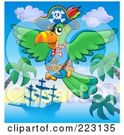 Royalty Free RF Clipart Illustration Of A Pirate Parrot Flying Over A Ship And Palm Trees